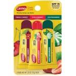 Carmex Moisturizing Lip Balm SPF 15 Fresh Cherry, Strawberry, Wintergreen Набор лечебных бальзамов для губ в тюбиках Свежая вишня, Клубника, Морозная свежесть 3 шт. по 10 г