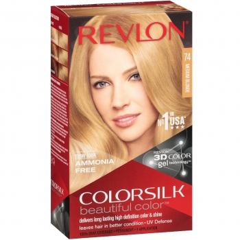 Revlon ColorSilk Beautiful Color Стойкая краска для волос оттенок 74 Medium Blonde (7N Натуральный блондин)