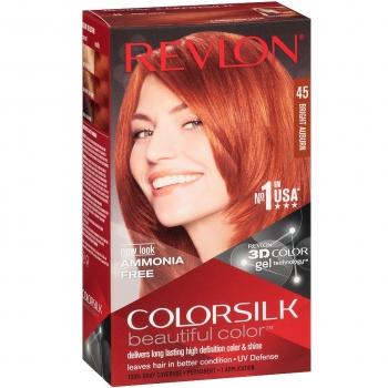 Revlon ColorSilk Beautiful Color Стойкая краска для волос оттенок 45 Bright Auburn (4BR Ярко-рыжий)