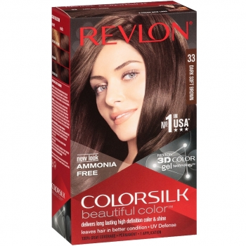 Revlon ColorSilk Beautiful Color Стойкая краска для волос оттенок 33 Dark Soft Brown (3WB Теплый темно-каштановый)
