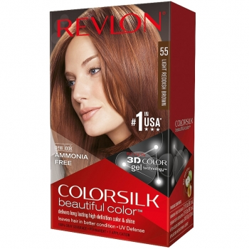 Revlon ColorSilk Beautiful Color Стойкая краска для волос оттенок 55 Light Reddish Brown (5RB Светлый рыжевато-каштановый)