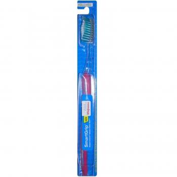 Well at Walgreens SmartGrip Full Head Toothbrush, Medium Bristles Зубная щетка средней жесткости, темно-розовая