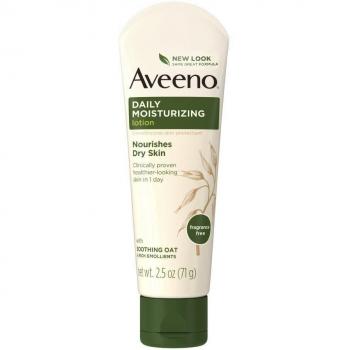 Aveeno Daily Moisturizing Lotion Fragrance Free Ежедневный увлажняющий лосьон без отдушек для сухой кожи 71 г (миниатюра)