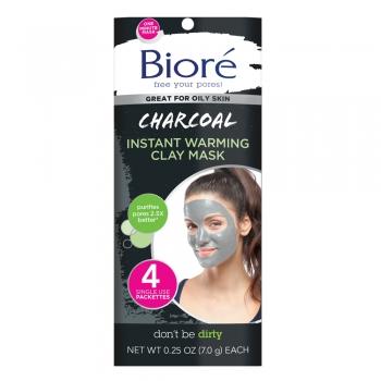 Biore Charcoal Instant Warming Clay Mask  Угольные маски мгновенного действия для очищения пор 4 шт. по 7 г