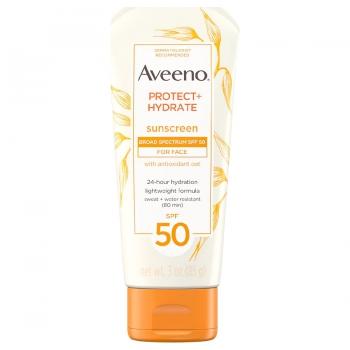 Aveeno Protect + Hydrate Face Sunscreen Lotion With SPF 50 Солнцезащитный водостойкий крем для лица 85 г