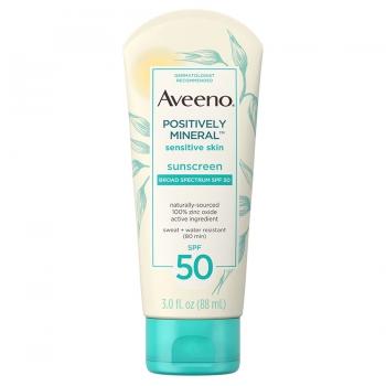 Aveeno Positively Mineral Sensitive Skin Sunscreen SPF 50 Минеральное водостойкое солнцезащитное средство для чувствительной кожи 14 мл (миниатюра)