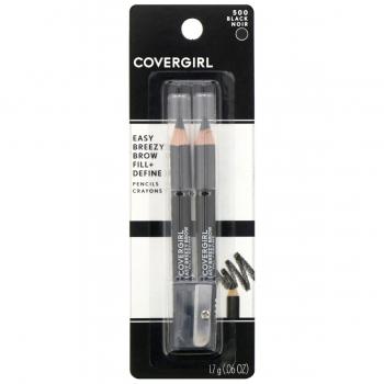 CoverGirl Easy Breezy Brow Fill + Define Pencil  Водостойкий карандаш для бровей (2 шт.) + точилка оттенок 500 Black
