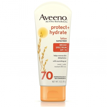 Aveeno Protect + Hydrate Lotion Sunscreen With Broad Spectrum SPF 70 Солнцезащитный водостойкий крем 85 г