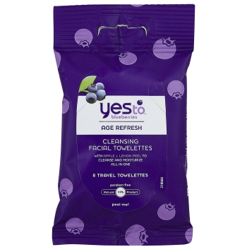 Yes To Blueberries Cleansing Facial Towelettes  Очищающие салфетки для лица 8 шт